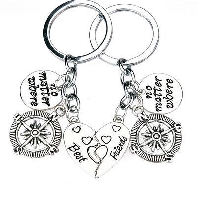 2PC No Matter where Heart Best Friend Compass Key Chain Jewelry Keyring (Best Matters)