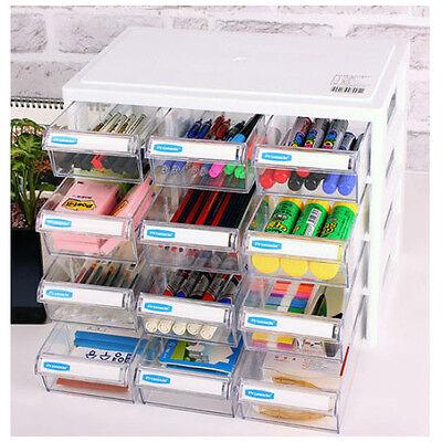 12 Drawer Organizer Box Desk Storage Holder Stationery Organizer Tray Multi Case