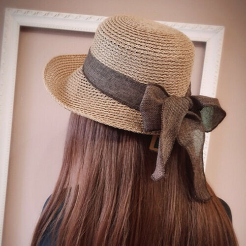 Trendy Flat Sun Hat Women's Summer bow Straw Hats For Girls