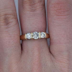 14k 'Past, Present, Future' Diamond Engagement/Anniversary Ring