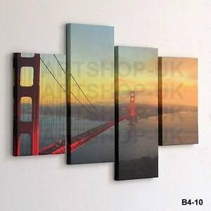 4 PIECE LARGE CANVAS PICTURE STAGGERED WALL ART MULTI SPLIT PANEL HANGING DESIGN