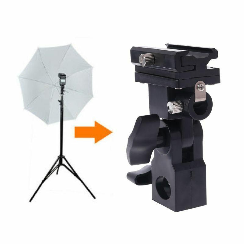 Photo Flash Adapter Hot Shoe Swivel Light Stand Mount Umbrella Holder Bracket B