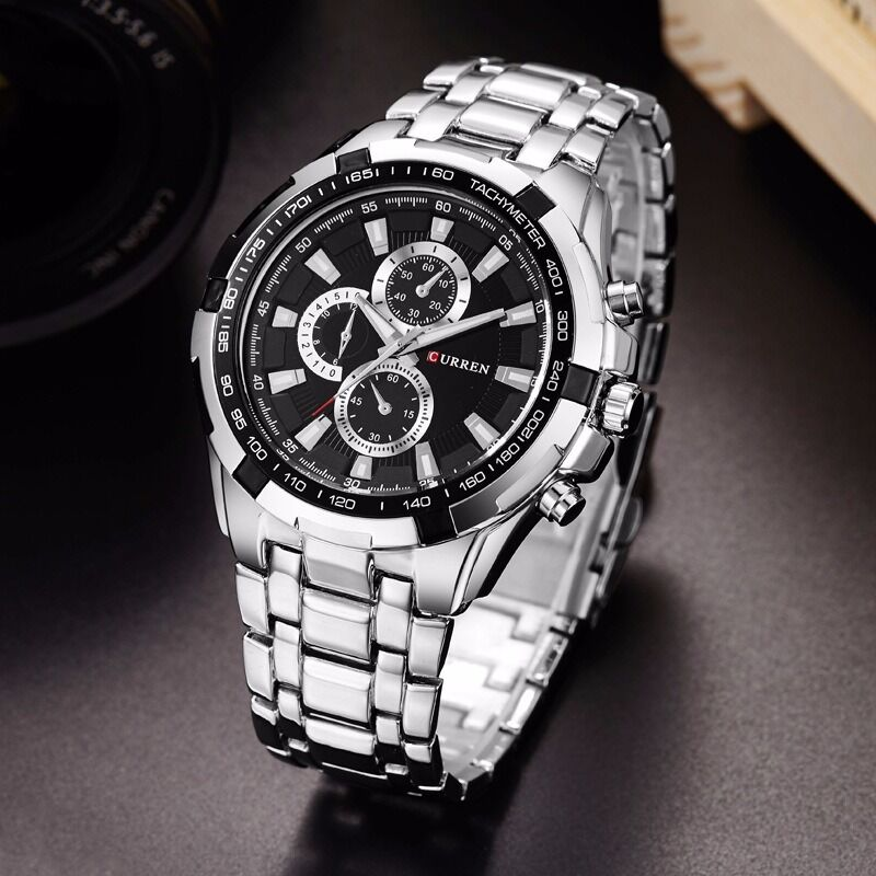 $10.99 - CURREN Men's Luxury Stainless Steel Quartz Analog Sports Waterproof Wrist Watch