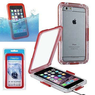 Cell Phone 6 Plus Clip-on Snap-in Waterproof Case, Red Inste