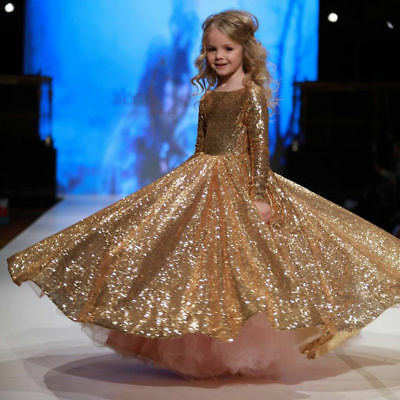 Long Sleeved Pageant Bling Prom Gown Gold Formal Dress for Little Girl - Cheap Formal Dresses For Little Girls