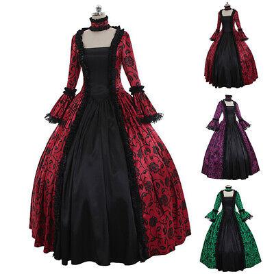 Damen Gothic Viktorianisch Langes Kleid Renaissance Kostüm Retro - Kostüme Bälle