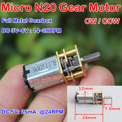 Cw Ccw N20 Gear Motor Dc 3v-6v 5v 24rpm Micro Full Metal Precision Gearbox Motor