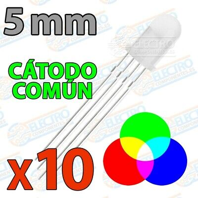 LED RGB 5mm Difuso 60mA 4 pines Catodo comun - Lote 10...