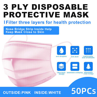50 Pcs Pink Face Mask Disposable Non Medical Surgical 3-ply Earloop Mouth Cover