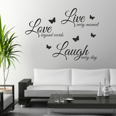 DIY Wall Art Live Laugh Love Butterfly Litter Stickers Craft Wall Decal SticksB$ (Live Laugh Love Wall Decals)