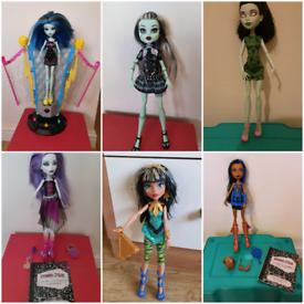 Monster high dolls cleo frankie robecca Scarah spectra vgc rare doll