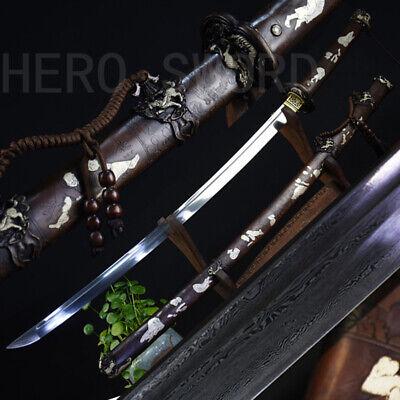 Traditional Handmade Damascus Steel Tachi Combat Japanese samurai Katana Sword
