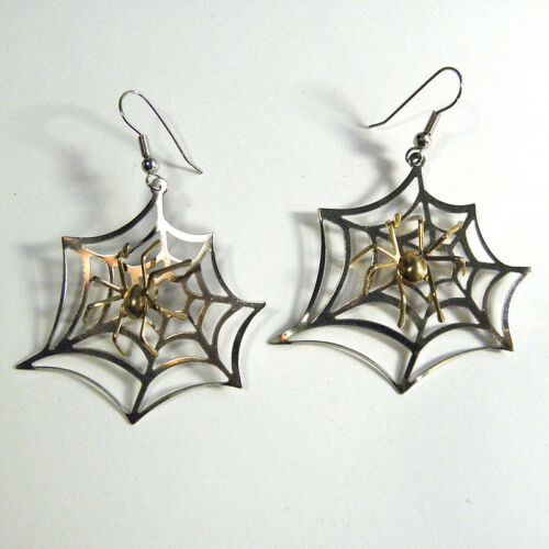 Halloween Spider Spiderweb Earrings Costume CosPlay Cobweb Pierced Silver Web