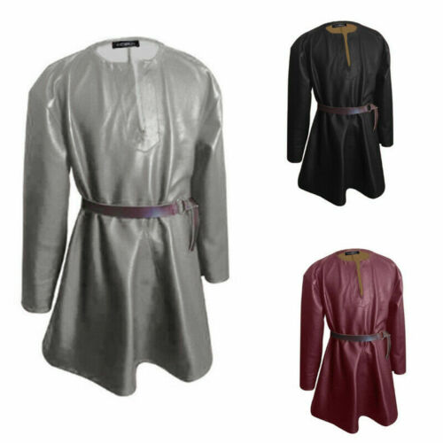 Mens Medieval Renaissance Long Sleeve Faux Leather Vintage Tunic Shirt Tops Tee