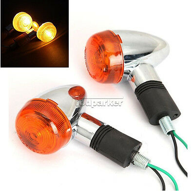 Amber Chrome Bullet Front Rear Turn Signal Indicator Light Lamp Motorcycle TOP