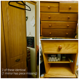Free free free! 2 wardrobes, drawers, bedside table.