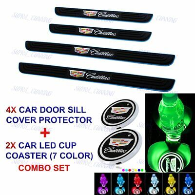 X4 Blue/Black Car Door Scuff Sill Cover Step Protector +LED COASTER For Cadillac