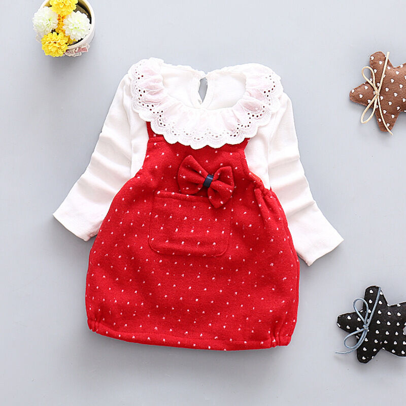 2pcs Toddler Baby Girls Outfits T shirt tops+Braces dress Kids Party Clothes Set