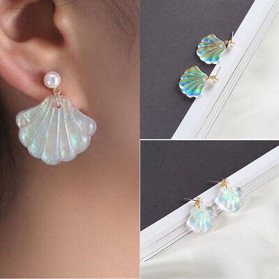 Elegant Fashion Women Girls Pearl Shiny Shell Ear Stud Earrings Weeding Gifts ()