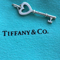 Tiffany & Co Heart Key Pendant Charm Sterling Silver Small