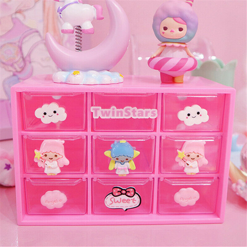 Little Twin Stars Desk Jewelry Drawer Storage Organizer Case Stationery Box Gift