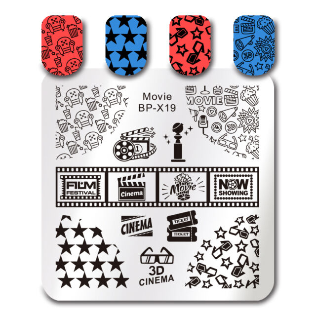 Born Pretty Square Nail Art Stamp Template Movie Design Image