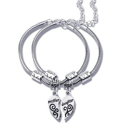 Mom Daughter Matching Silver Heart Charm Bracelet Set Mothers Day Gift USA Ship](Mom Charm Bracelet)
