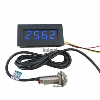Blue 4 Digital Led Tachometer Rpm Speed Meterhall Proximity Switch Sensor Npn