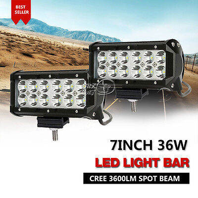 "7""INCH 36W LED Work Light Bar CREE Spot Beam Off Road Driving ATV VS 6"" Flood 2x"