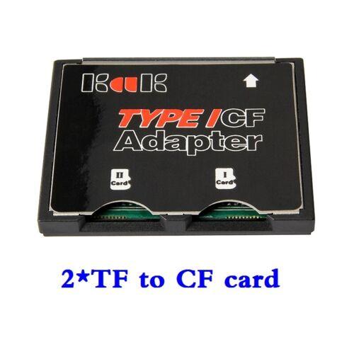 2 Port Micro SD TF to CF Card ADAPTER MMC SDHC SDXC 2 COMPACT FLASH TYPE I UDMA