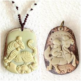 Chinese Hand Carved Vintage Pendants (Free UK postage)