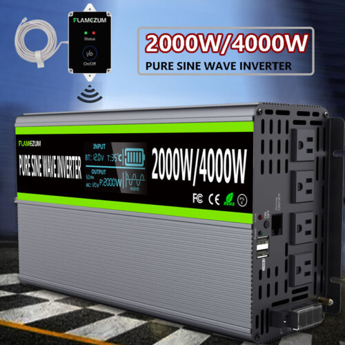 2000W/4000W Car Pure Sine Wave Power Inverter DC 12V To 120V AC Converter LCD RV