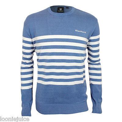Mens Fenchurch Crew Neck Stripe Quality Cotton Jumper Blue & White Great Gift