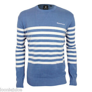 Mens-Fenchurch-Crew-Neck-Stripe-Quality-Cotton-Jumper-Blue-White-Great-Gift