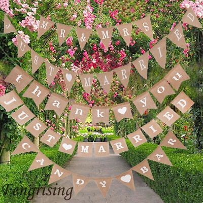 Vintage Jute Hessian Burlap Bunting Banner Flag Fabric Wedding Party - Bunting Flag Banner
