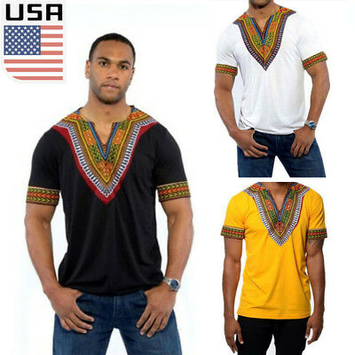 Usa Mens Hipster Hip Hop African Dashiki Crew Neck Elongated Longline T Shirt Yy