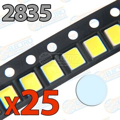 LED SMD 2835 60mA 200mW - Blanco frio - Lote 25 unidades - Arduino Electronica D