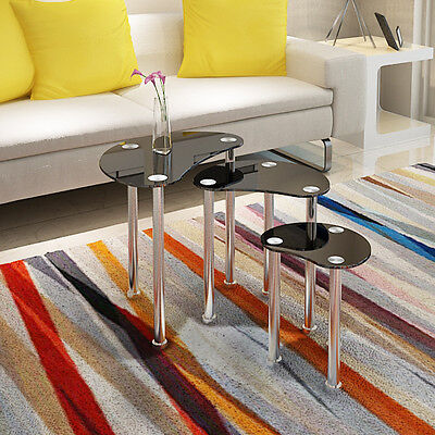 BLACK GLASS OVAL NEST OF 3 COFFEE TABLES / SIDE END TABLE W/ CHROME LEGS