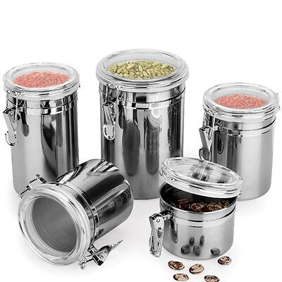 US Stainless Steel Airtight Sealed Canister Coffee Flour Sugar Tea Container