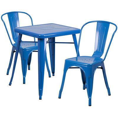 23.75 Industrial Blue Metal Indoor-outdoor Restaurant Table Set With 2 Chairs