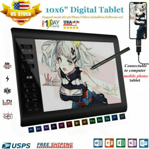 "10x6"" Digital Graphics Drawing Tablet PC Artist Board Pad Pa"