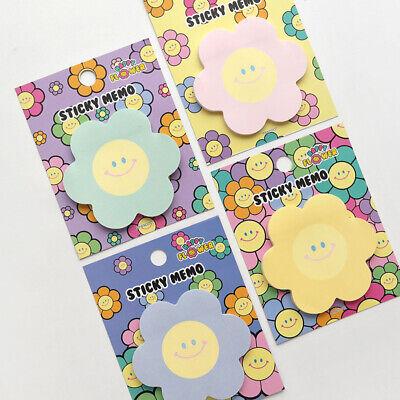 4pcs Happy Flower Sticky Notes Memo Pad Bookmark Index Flag Sticker Decoration