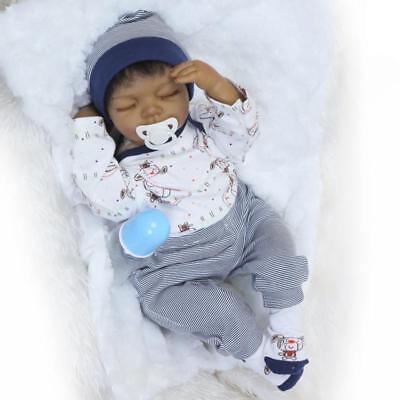 Black African American Reborn Baby Boy Doll 20'' Lifelike Newborn Kid Toy Gift (Black Baby Doll)