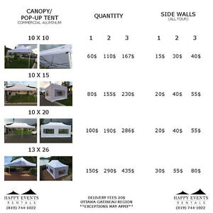 Tent - Lights - Canopy - For Rent - Wedding - DJ - Chairs - LED