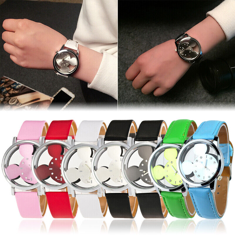 Top Quality Women Mickey Mouse Watch Leather Strap Quartz Dr