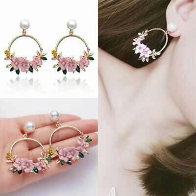 Sweet Crystal Flower Earrings Women Gold Circle Pink Drop Dangle Pearl Ear Stud