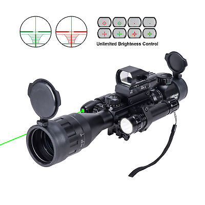 Rifle Scope 4-16x50 EG w/Holographic 4 Reticle HD Sight&Green Laser Combo New lk