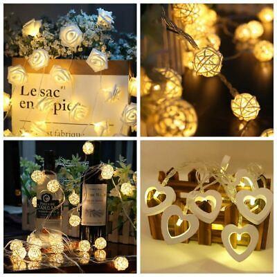 LED Rose Flower Fairy String Lights Christmas Supply Wedding Garden Party Decor  - Pink String Lights
