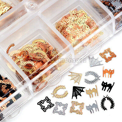 Slices Halloween (3 Colors 4 Shape Halloween Cat Spider Web Metal Seuqins Nail Art Slice Decal)