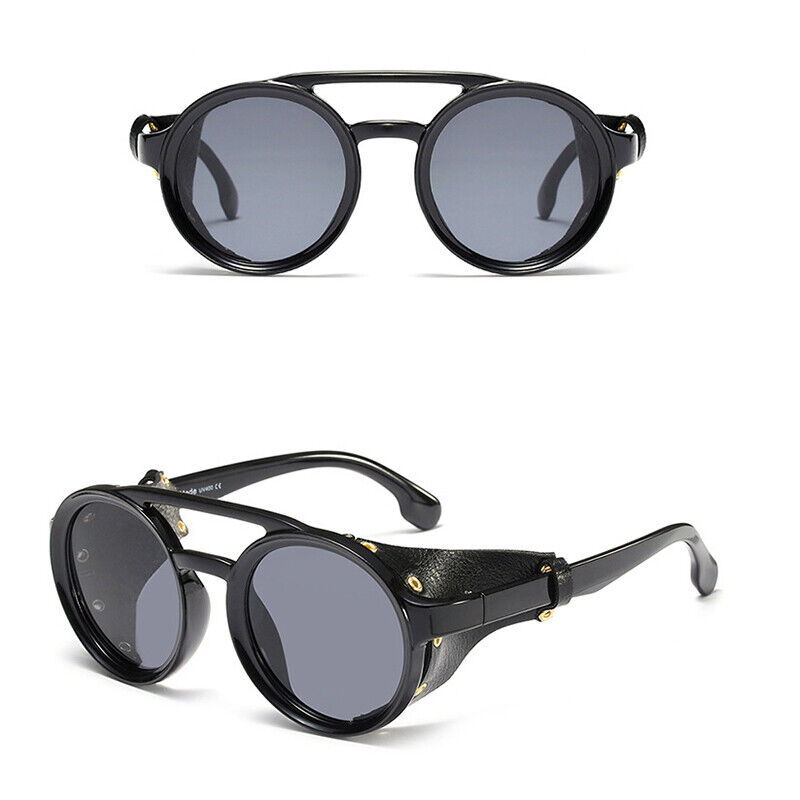 KEITHION Men Vintage Steampunk Sunglasses Fashion Round Retro Eyewear